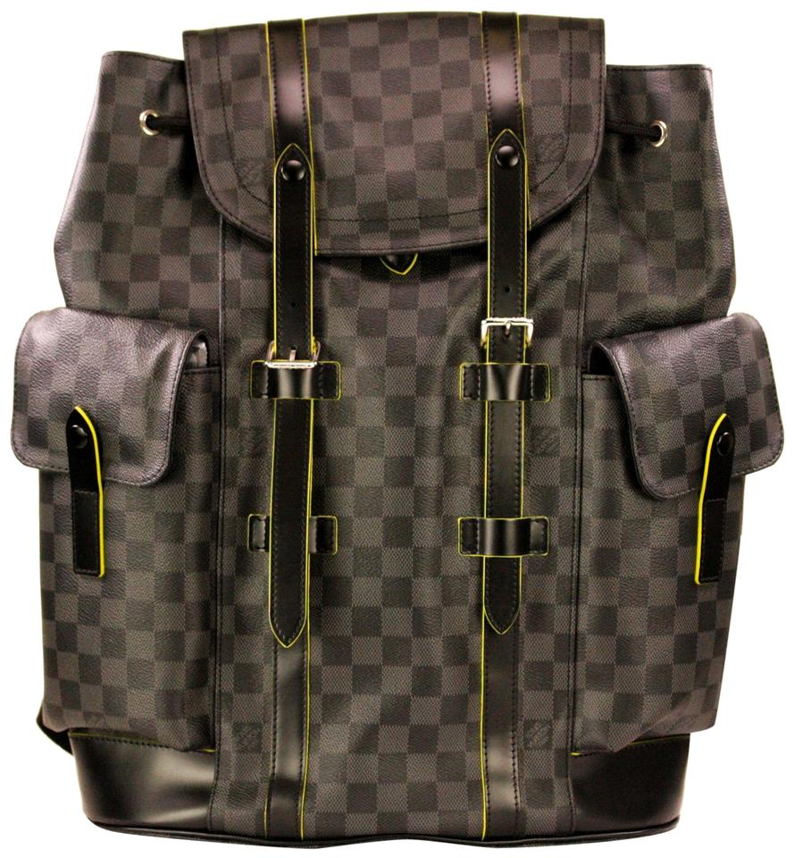 b9545505b0c7 Louis Vuitton Pm Damier Graphite Canvas Green Grey Leather Backpack ...
