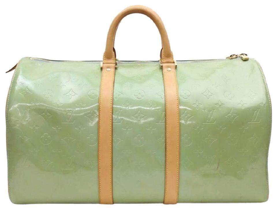 Louis Vuitton Keepall Lv Monogram Vernis 45 Blue Green Patent Leather Weekend Travel Bag 38 Off Retail
