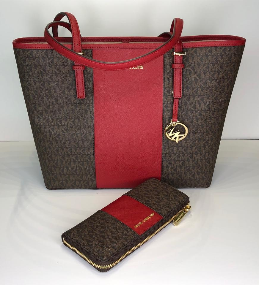 3f885b52d42a Michael Kors Jet Set Travel Md Carryall Tote and Matching Wallet ...