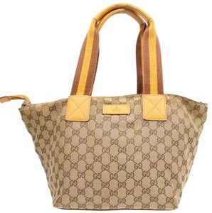 Gucci Speedy Gg Monogram Gg Satchel in Tan/Red