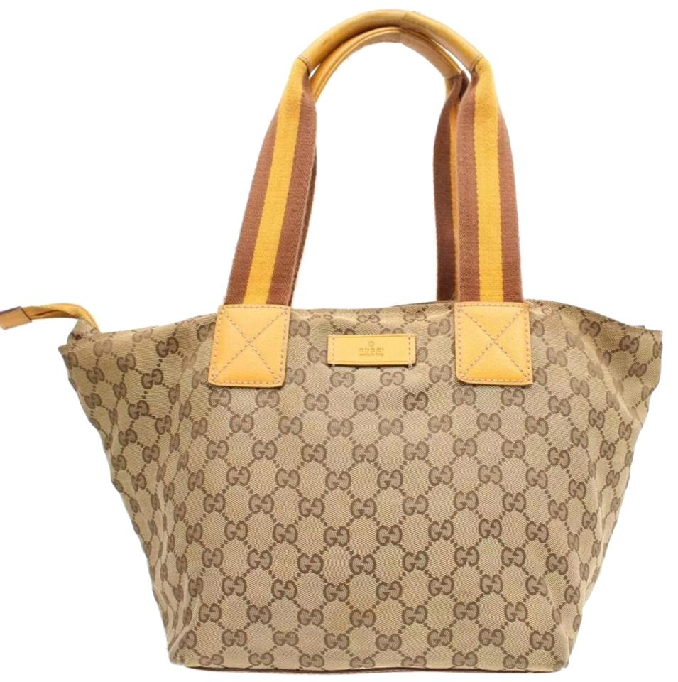 302b2becff58 Gucci Monogram Gg Tote with Web Handles Tan/Red Leather Satchel ...