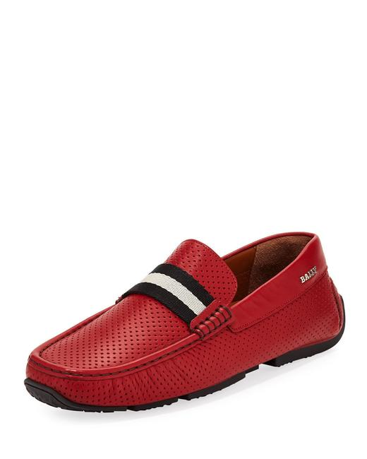 Item - Red Pearce Perforated Leather Web Logo Drive Loafers 8.5 Us 41.5 Italy Shoes