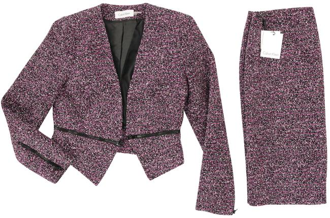 Item - Black And Purple/Violet with Super Stylish Zippers At Cuffs and Waist Skirt Suit Size 12 (L)