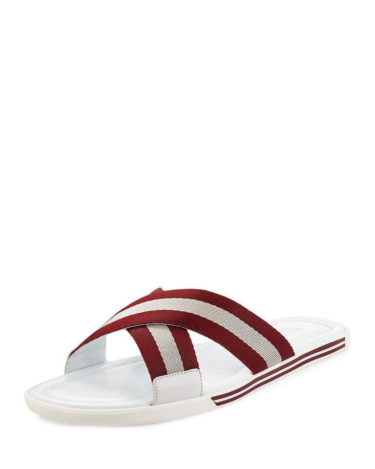 acb2307dc68a Bally White Bonks Leather Striped Logo Crisscross Sandal Slides 12 Us 45  Shoes Image 0 ...
