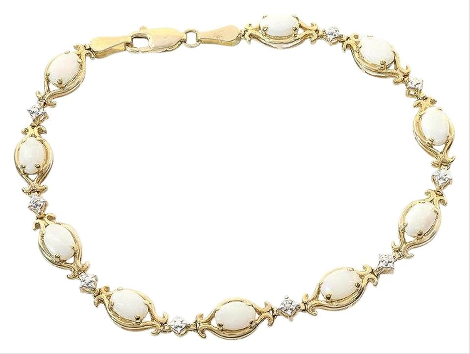 Avital Co Jewelry White 4 00 Carat Opal And 0 10 Diamond Accents In 14k Yellow Bracelet 66 Off Retail