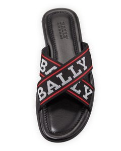 Bally Black Bonks Leather Striped Logo Crisscross Sandal Slides 8 Us 41 Shoes