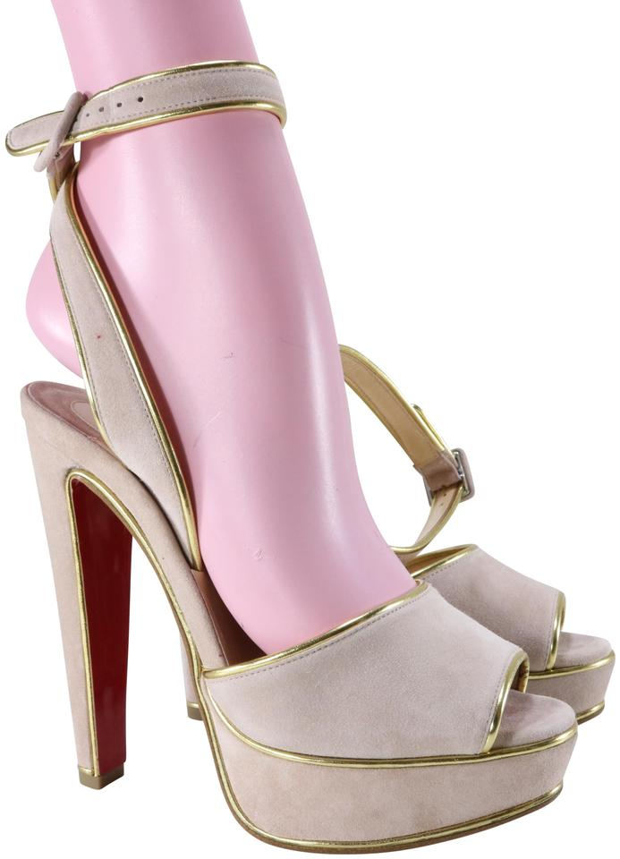 ed5010915449 Christian Louboutin Beige Louloudance 140mm Suede Pink Gold Sandals Heels  B199 Pumps
