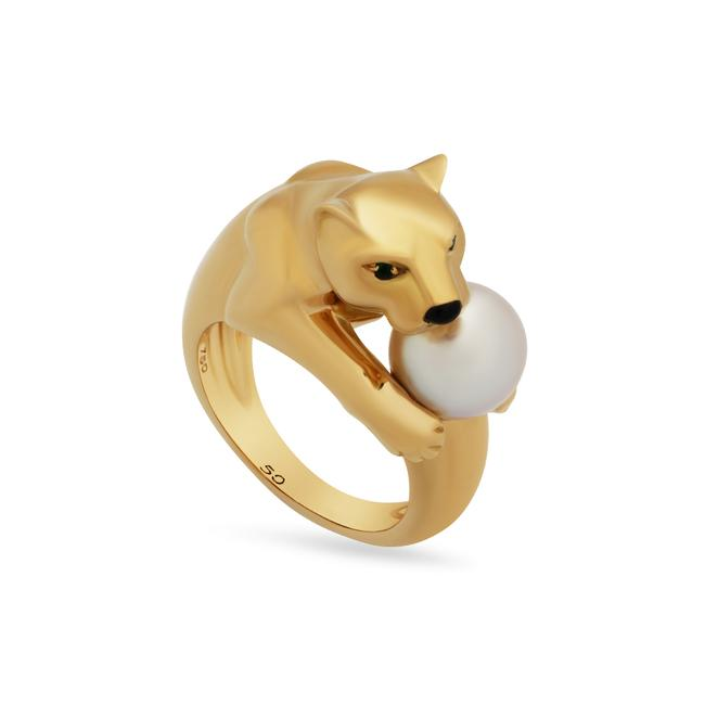 Item - Gold 18k Yellow Emerald Pearl Panther Size: 5.25 Ring