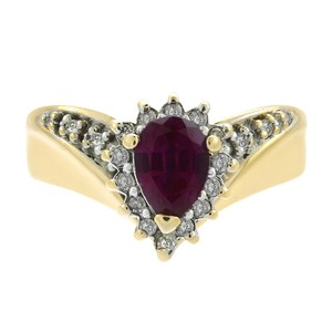 Avital & Co Jewelry 0.70 Carat Simulated Ruby And 0.18 Carat Diamond and in 14K Gold