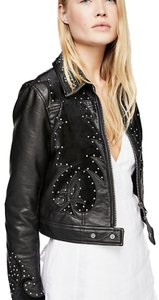 Free People Black with Silver Studs Leather Jacket