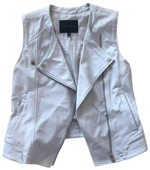Item - White Gray Moto Faux Leather Perforated Vest Size 2 (XS)