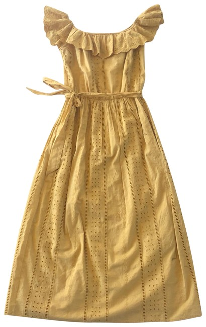 Item - Yellow Midi Lacy Waist Tie Off Shoulder Mid-length Cocktail Dress Size 4 (S)
