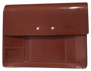 Orla Kiely Patent Leather Messenger Crossbody Satchel in Chocolate Brown