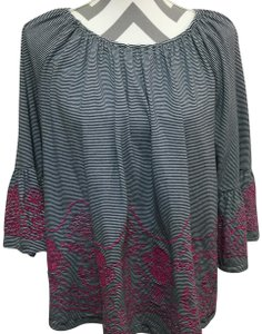 e32b1c546893 Fever Bell Sleeves Embroidery Stripes Elastic Neck Line Top Black, White &  Pink
