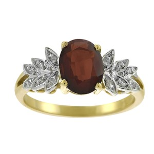 Avital & Co Jewelry 1.40 Carat Garnet And 0.05 Carat Diamond Accents Ring in 14K Yellow