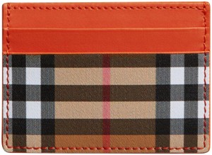 Burberry London Burberry Vintage Check and Leather Card Case Clemente orange