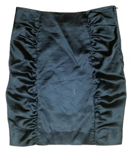 H&M Satin Ruching Mini Mini Skirt Black