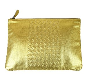Bottega Veneta Leather Woven Pouch Gold Clutch