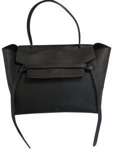 Céline Satchel in black grained