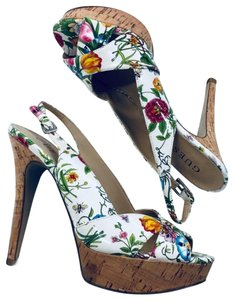 Guess Peep Toe Floral Platforms