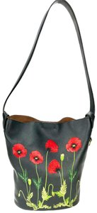 Stella McCartney Embroidery Bucket Shoulder Red Tote in black