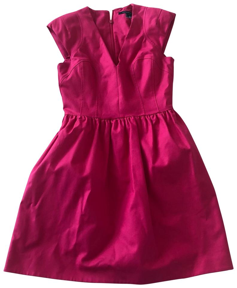 French Connection Hot Pink Babydoll Mid Length Short Casual Dress
