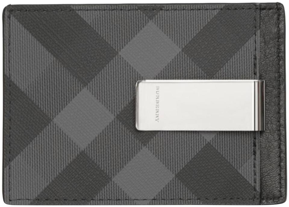 buy popular 9fb92 fa244 Burberry London Charcoal Black Check and Leather Money Clip Card Case  Wallet 31% off retail