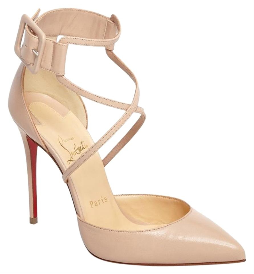 85b216b5fd4b Christian Louboutin Nude Strappy Nude Sandals Cross Strap beige Pumps Image  0 ...