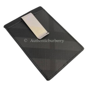 Burberry London London Check and Leather Money Clip Card Case