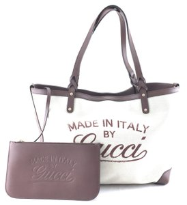 Gucci Tote in brown leather and off-white canvas