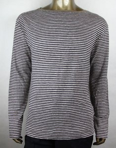 Gucci Blue/Beige L Vintage Blue/Beige Linen Striped Long Sleeve T-shirt 408854 4267 Shirt