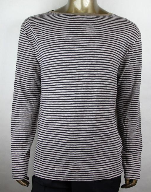 Item - Blue/Beige Vintage Blue/Beige Linen Striped Long Sleeve T-shirt 2xl 408854 4267 Shirt