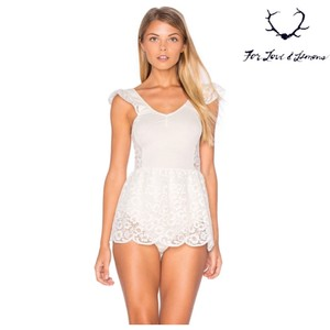 28635af8b7 For Love   Lemons Ivory And Skivvies Ruffle Sleeve Daisy Romper ...