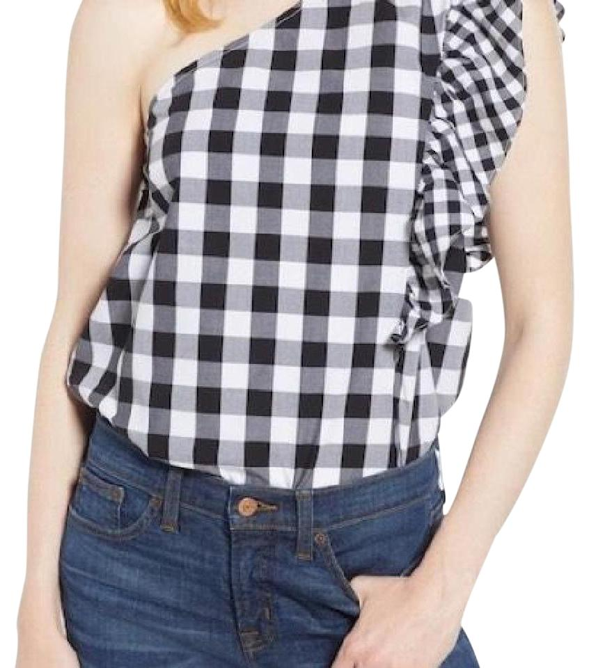 d364e5961f015 J.Crew Black Maybe One-shoulder Mix Gingham Blouse Size 8 (M) - Tradesy