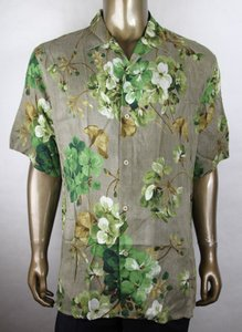 Gucci Brown Viscose Green Geranium Bloom Print It 54r/Us 44r 401314 2389 Shirt