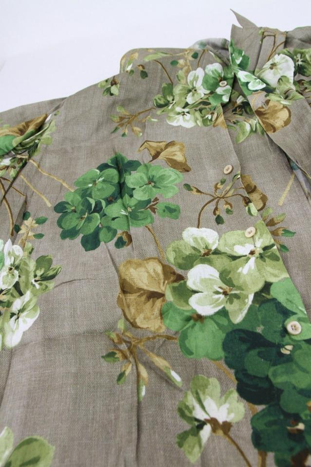 485370016 Gucci Brown Viscose Green Geranium Bloom Print It 54r/Us 44r 401314 2389  Shirt Image. 123456789