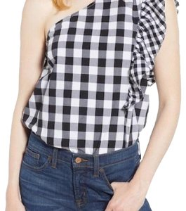 J.Crew Gingham Printed One Shoulder Casual Top Black