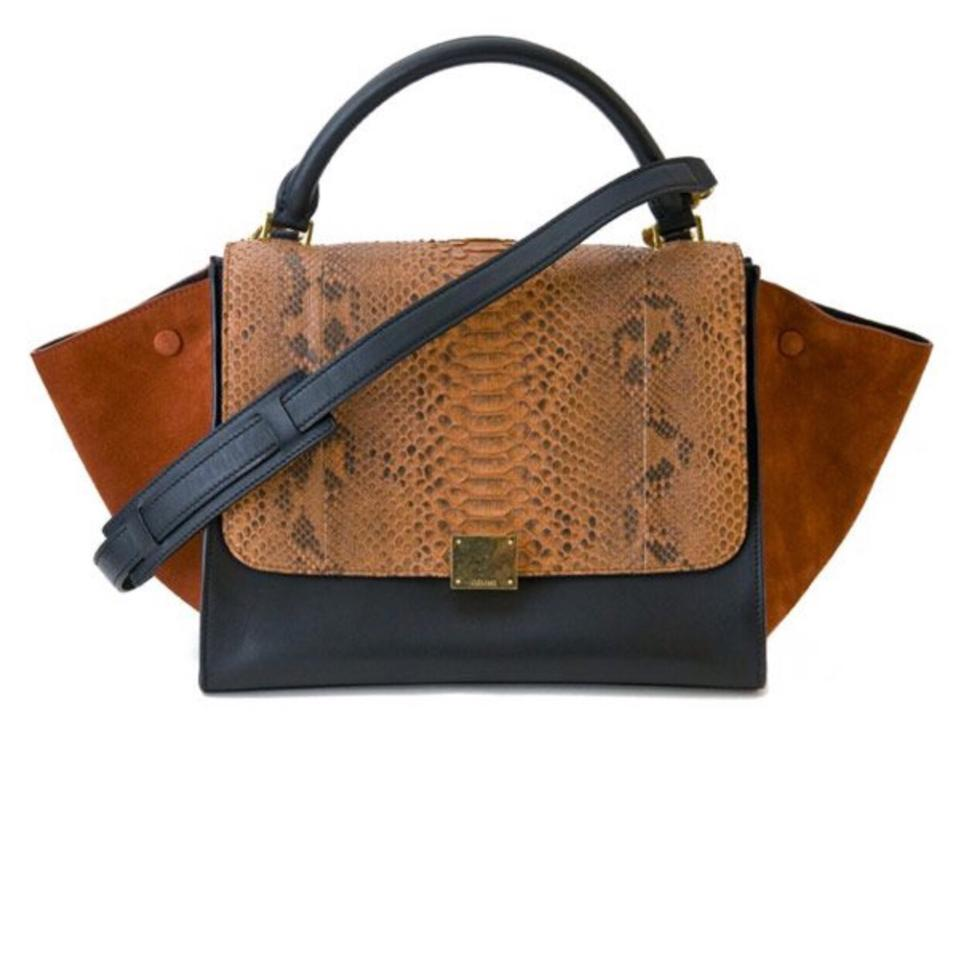 ab3346eb77 Céline New Tapeze In Black and Brown Leather Python Suede Shoulder ...