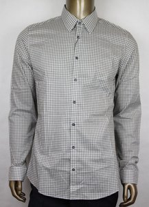 Gucci Olive Green/White Men's Cotton Checkered Vichy Slim 42/16.5 307648 3253 Shirt