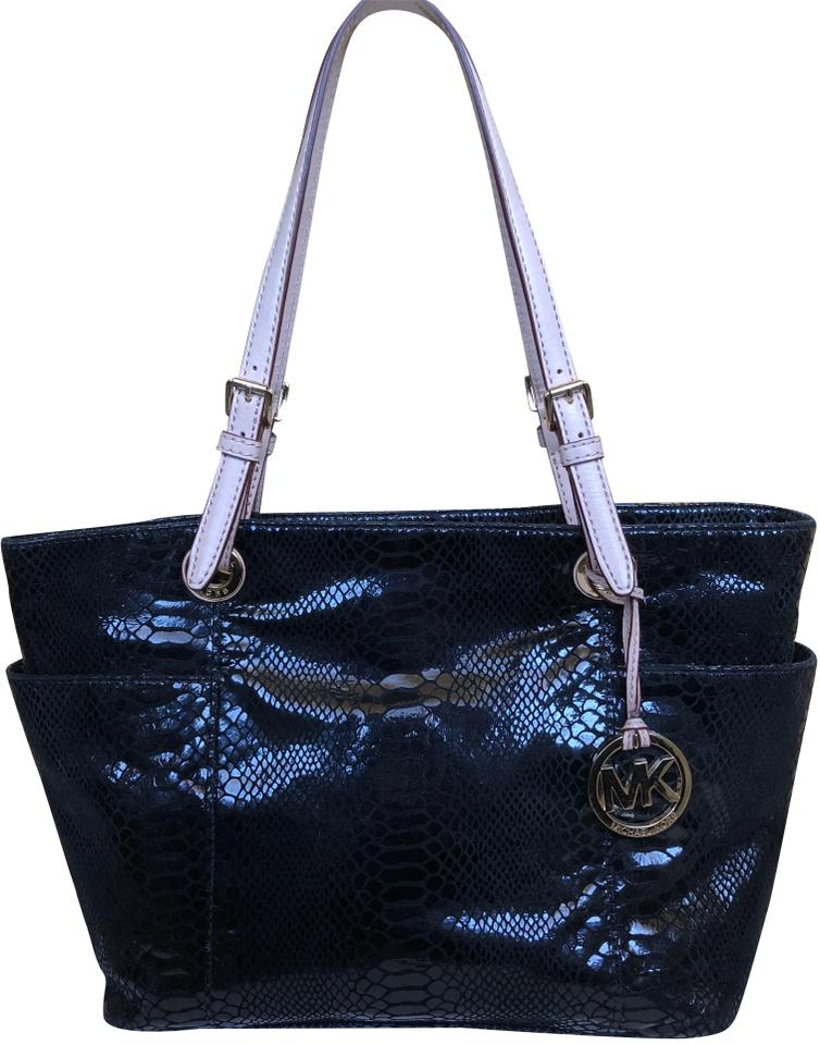 66a75fbad8538d Michael Kors Gold Hardware Python Embossed Snakeskin Leather Tote in Black  Image 0 ...