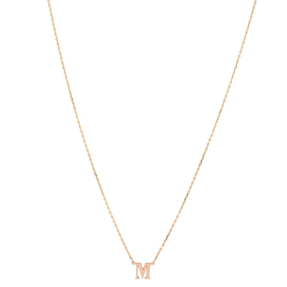 1627e890b8 Gavriel's Jewelry Yellow Gold 'M' Letter Pendant Necklace With Chain Image  0 ...