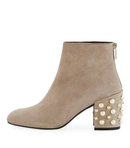 Stuart Weitzman Gray Pearl Embellished Suede Fossil Boots
