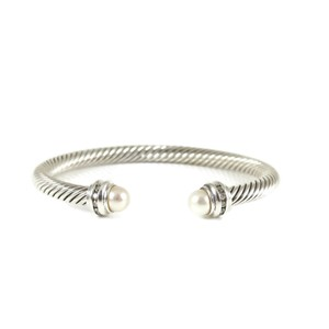 David Yurman David Yurman Sterling Silver .20tcw 5mm Pearl Diamond Bracelet