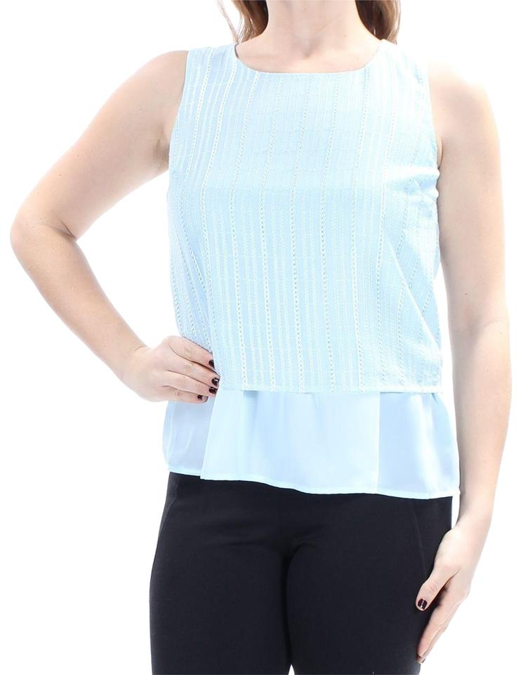 2971f5e28f56a6 Maison Jules Blue XS Womens New Light Jewel Neck Sleeveless Blouse ...