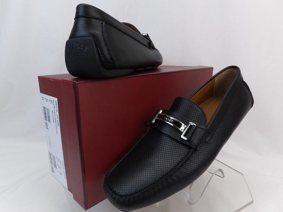 f3e4c553cf581 Bally Black Drulio Perforated Leather Metal Logo Driving Loafers 10 Us 43  Shoes Image 0 ...