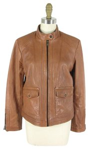 Bernardo Short Zipper Cuffs Longsleeve Brown Leather Jacket