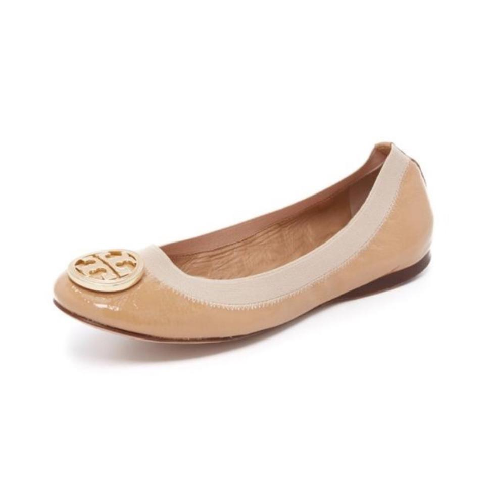 4a3ff65ede8 Tory Burch Tan Caroline Patent Leather Ballet Camille Pink Gold Logo Flats
