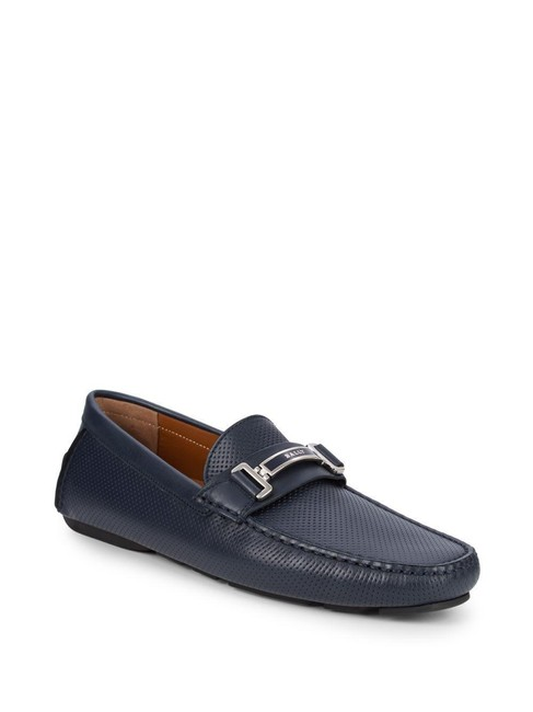 Item - Blue Drulio Navy Perforated Leather Metal Logo Driving Loafers 11.5 Us 44.5 Shoes