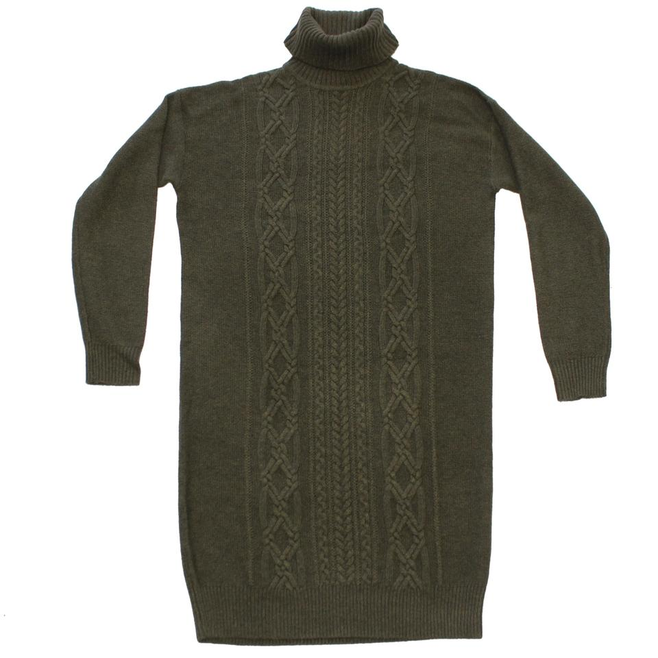 5d35eea5171 J.Crew Cable Turtleneck Sweater-dress Size(Xsmall) Heathered Loden Sweater