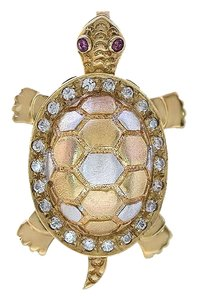 Avital & Co Jewelry 0.30 Carat CZ and 0.02 Carat Ruby Vintage Turtle Two Tone Pendant